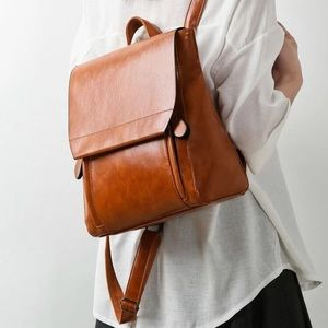 Cognac Brown Backpack Purse